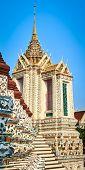 Beautiful closeup view of War Arun a Buddhist temple in Bangkok Yai district of Bangkok, Thailand.  poster