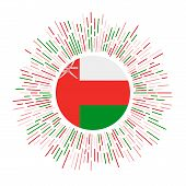 Oman Sign. Country Flag With Colorful Rays. Radiant Sunburst With Oman Flag. Vector Illustration. poster