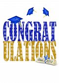 image of congrats  - Congrats for class of 2013 with blue flying caps - JPG