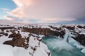 Iceland Waterfalls Cold Winter Scenic View. Iceland Waterfalls Cold Winter Scenic View. Aldeyjarfoss poster