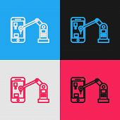 Color Line Industrial Machine Robotic Robot Arm Hand On Mobile Phone Factory Icon Isolated On Color  poster