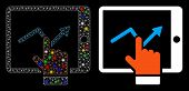 Glossy Mesh Tablet Report Icon With Glitter Effect. Abstract Illuminated Model Of Tablet Report. Shi poster