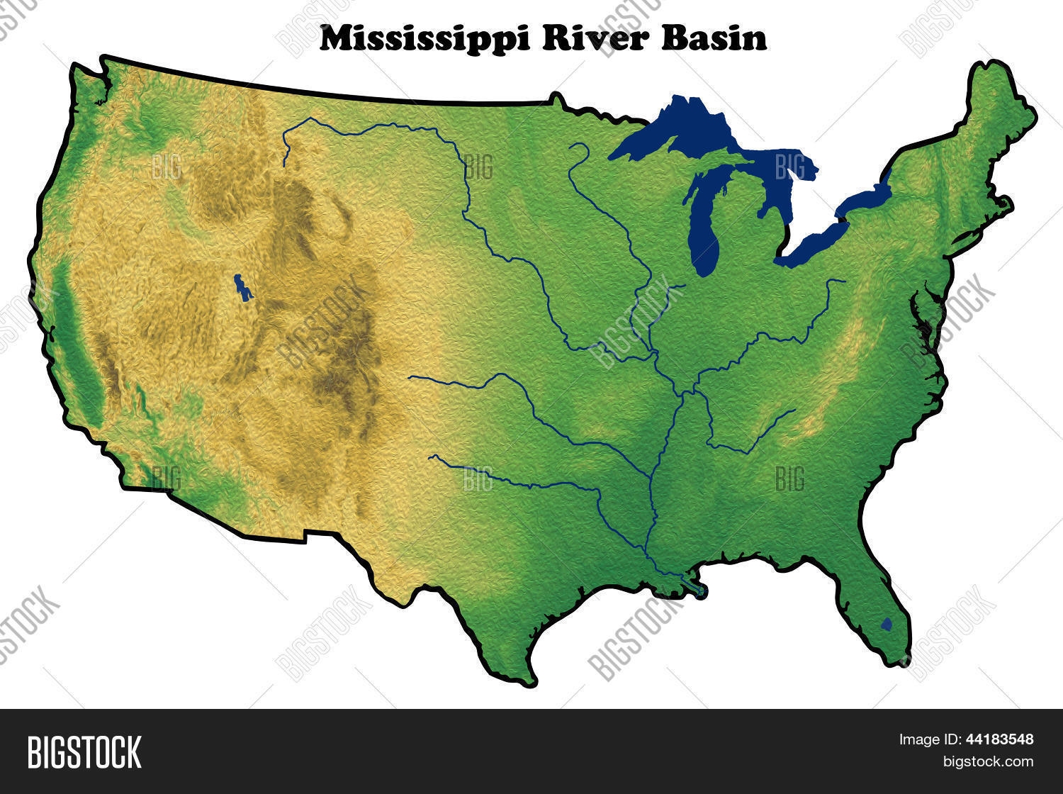 Physical Map United States Showing Image Photo Bigstock - Us map mississippi river
