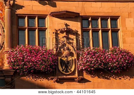 Main City Clock And Facade At Rathaus In Heilbronn, Germany