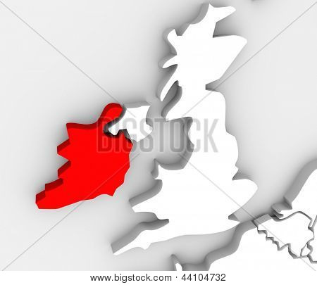 The country Ireland on a 3d abstract map with the United Kingdom beside it and the Atlantic Ocean
