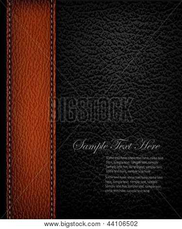 Black leather background with brown leather strip. Vector illustration.