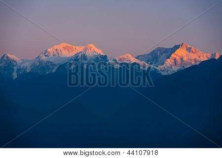 Kangchenjunga Mountain Himalayas Sunrise Distant