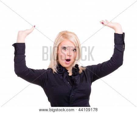 shocked young woman is holding something abstract