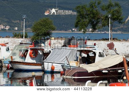 Boats in the port in Canakkale. Turkey
