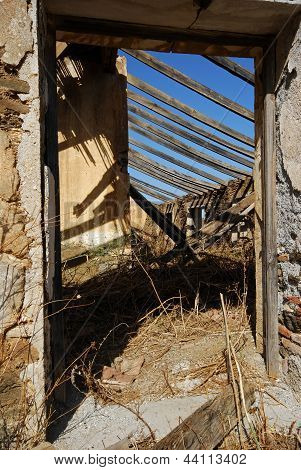 Derelict farmhouse doorway, Spain.