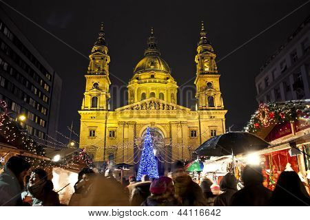 BUDAPEST, HUNGARY - DECEMBER DAY: Christmas fair before the Basilica Square at Christmastime is show