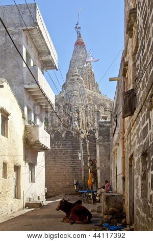 Changing Of The Flag On Krishna Temple Dwarka
