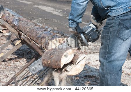 Cutting Wood For Firewood