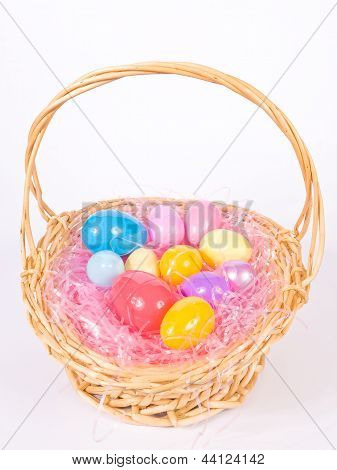 Easter basket wih colorful eggs