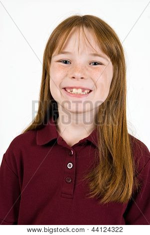 Young caucasion female in school shirt