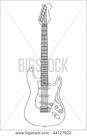 Technical Guitar Drawing Silhouette Vector Illustration