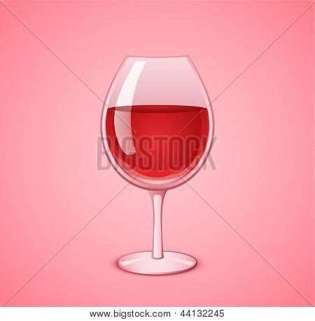 Wineglass with red wine on pink background. Wine glass vector illustration.