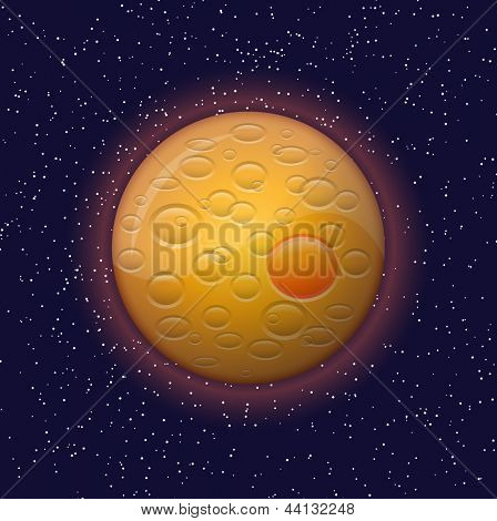 Orange planet and constellations in the night sky. Vector illustration