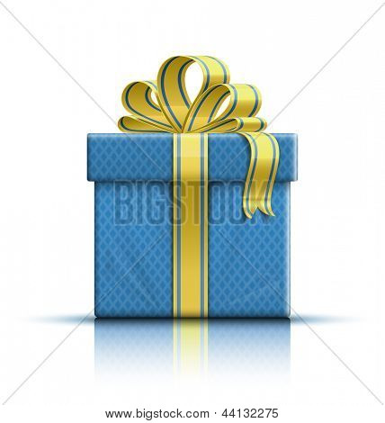 Gift box with yellow ribbon and bow. Vector illustration