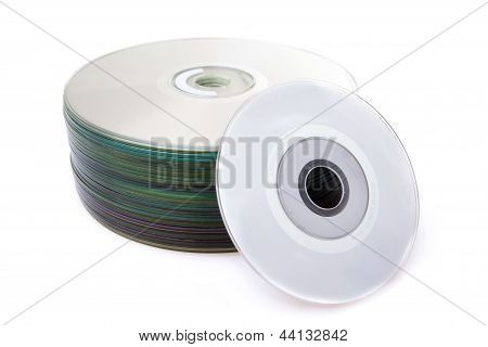 stack of Cd or DVD isolated on white background