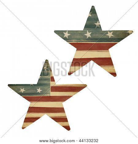 Dos estrellas, con temas de bandera americana. Elementos del diseño de vacaciones, aislados en blanco.
