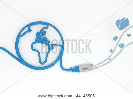 folder icon with network cable and world symbol