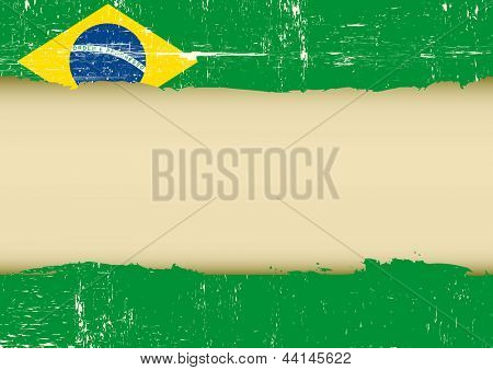 Brazilian scratched flag. A brazilian flag with a large frame for your message
