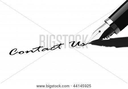 Pen writing Contact Us