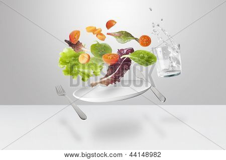 Light Salad With Floating Vegetables