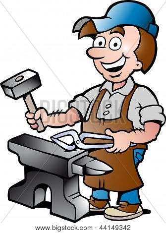 Hand-drawn Vector Illustration Of An Happy Blacksmith Worker