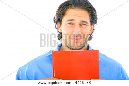 Scared Young Caucasian Male Holding Book