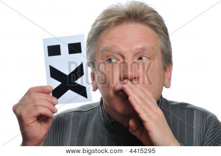 Adult Man Holds Card With Image