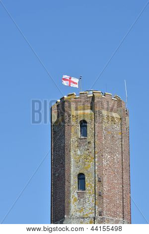 Castle tower with english flag
