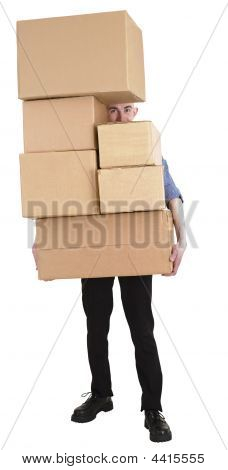 Man And Pile of Carton Boxes