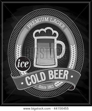 Cold Beer Poster - Chalkboard. Vector illustration.