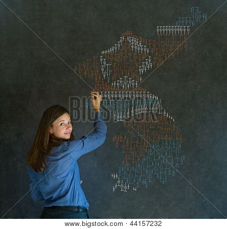 Woman With Missile War Map Thinking About North Or South Korea Conflict