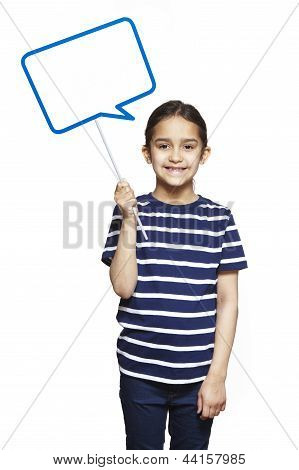 Young Girl Holding A Speech Bubble Sign Smiling