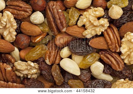 Raisons and nuts full frame
