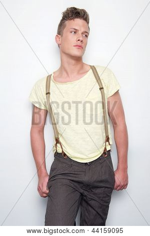Attractive Man With Suspenders
