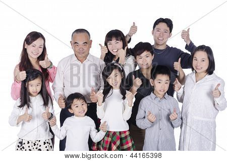 Multi generation family together happy thumbs up