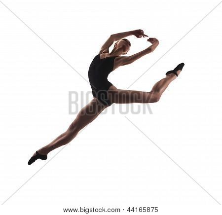 young modern ballet dancer jumping