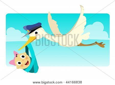 Stork Carrying Baby Girl