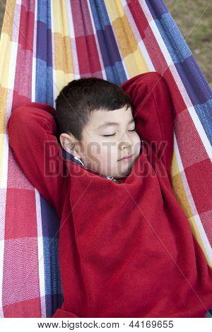 Boy Takes A Nap On Hammock.
