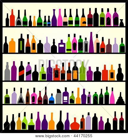 alcohol bottles. Bar