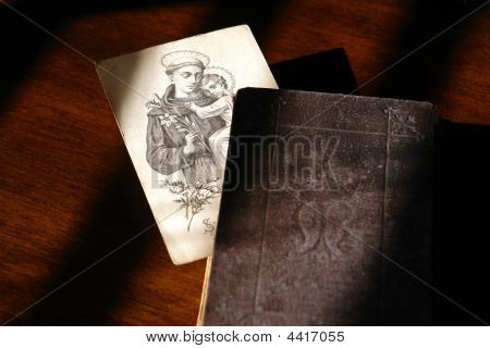 Antique Religious Image In An Old Prayer Book