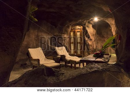 night view of cave spa resort at Koh Samui island Thailand