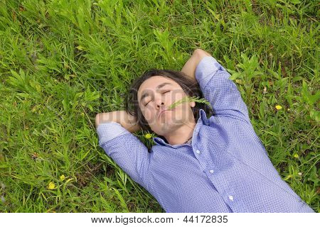 Business Man Lying On Grass