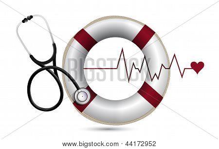 Lifeline And Lifebuoy With A Stethoscope