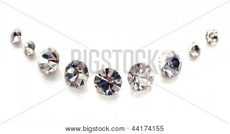 Beautiful shining crystals (diamonds), isolated on white