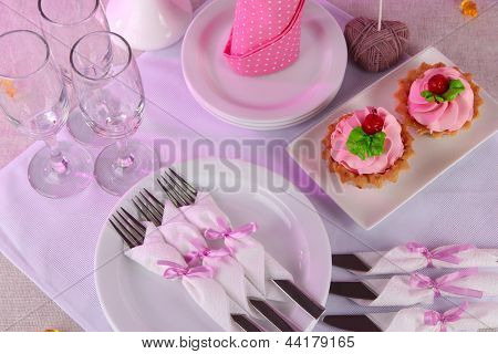 Table setting on tablecloth